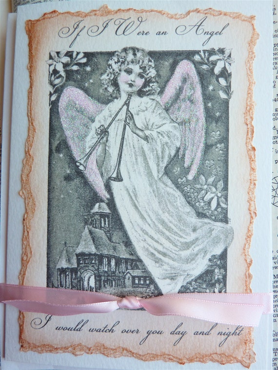 Old Fashioned Victorian Angel Holiday Card