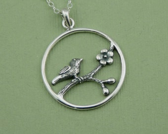 Song Bird Necklace - cherry blossom bird necklace, sterling silver jewelry