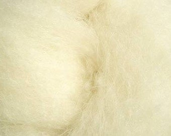 carded Fluffy Wool  waldorf doll stuffer natural cream color, felting or spinninig 200 gr (7 oz) and needle felt natural white