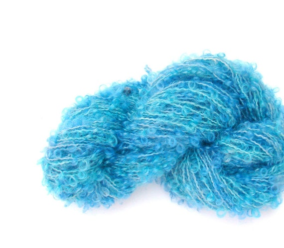 hand dyed 100 % wool boucle Yarn baby Blu   -  perfect for doll hair and knitting. 50 gramms