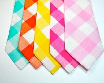 Gingham Neckties, Wedding Neckties, Mens Neckties, Large Gingham Mens Neckties - Many Great Colors