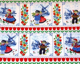 Dutch Delft Blue Cotton - Red Blue Green farmers, windmills and tulips- Fat Quarter