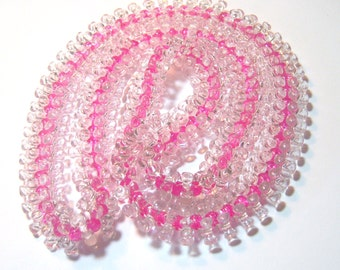 clear and pink wide vintage necklace E
