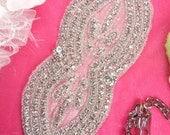 """XR165 Bridal Sash Crystal Rhinestone Applique Silver Beaded 9"""" ( XR165-slcr )"""