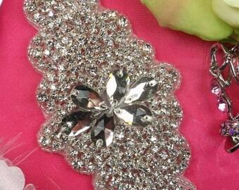 """XR171 Bridal Sash Crystal Rhinestone Applique Silver Beaded 7.5"""" ( XR171-slcr )"""