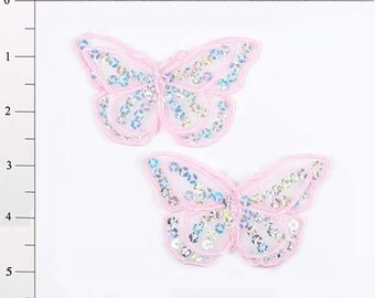 """E6322 Set of (2) Pink Butterfly Sequin Embroidered Appliques 2.5"""" (E6322-pk)"""