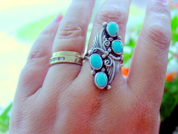 Vintage Turquoise Ring, Signed NY Sterling Silver Ring Size 9 Vintage Jewelry 925 Designer Jewellery