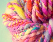 Merino wool Handspun Yarn - in pinks and yellows with sparkle, bulky 2ply, 20 yds