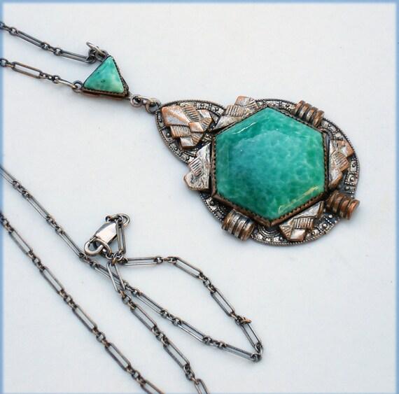 Art Deco Rhodium Silver and Peking Glass Geometric Necklace
