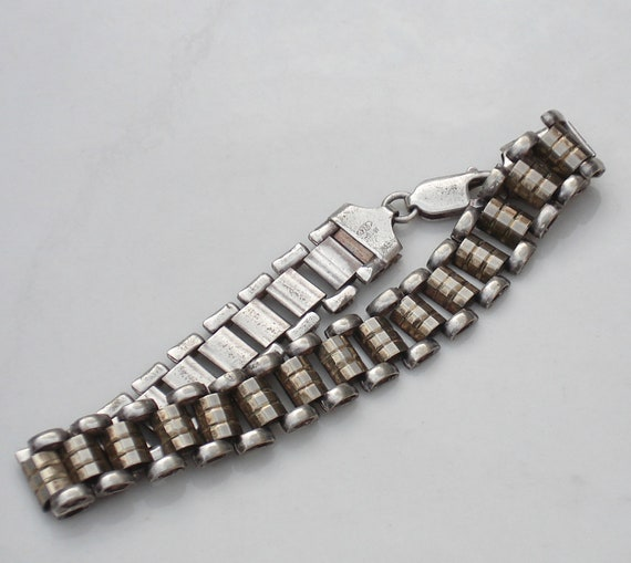 Vintage Mod Sterling Silver Book Chain Bracelet