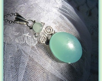 CLEARANCE  Beautiful Double Chrysoprase Gemstone - Necklace  C 7271