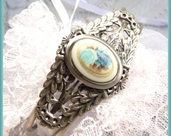 West Germany - Antique Roses - Silver Cuff - Bracelet  DC 8045
