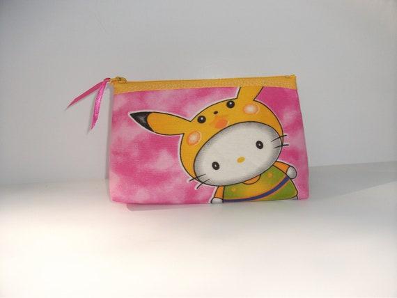 Hello Kitty Picachu  Fabric Make Up Bag / Pouch-Handmade Hello Kitty