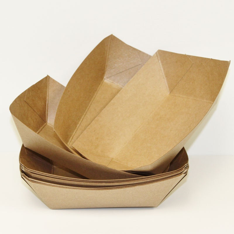 Brown Kraft Food Trays15 Brown Paper Food Tray / Boat Party