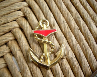 Gold tone nautical finding with red enamel, Navy style Anchor great for altered art, collage Etc.