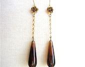 Tortoise Shell Earrings Long Dangle Earrings With Gold Rose Flower & Chain - Jamie Jean Earrings