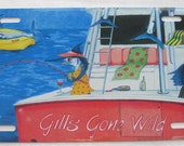 Gills Gone Wild aluminum vanity front license Plate Pink party boat Ladies fishing humor