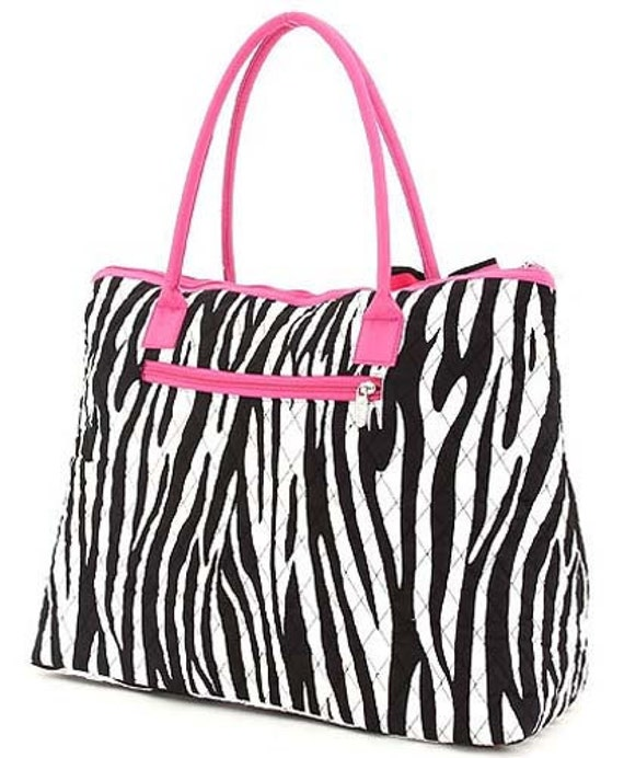 Zebra Quilted Tote Bag with Hot Pink Accents with FREE MONOGRAMMING