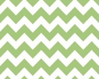 Riley Blake Medium Chevron Fabric in Green -- 1 yard