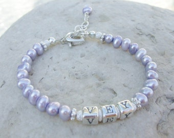 Two Years and Older Heart Clasp Monogram Initials Sterling and Freshwater Pearl Bracelet B143