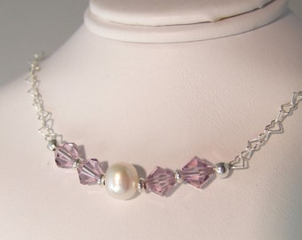 Crystals and Freshwater Pearl Sterling Silver Heart Chain Necklace N004