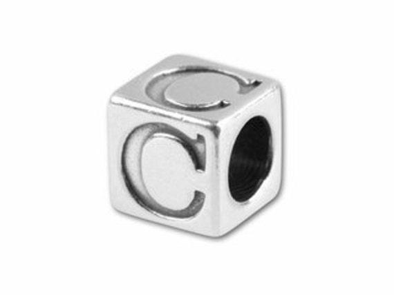 Extra 5.6mm Sterling Silver Letter Bead X014