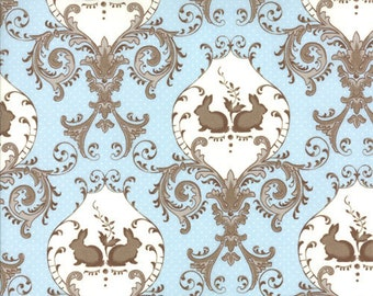 oop htf .5 one half yard Windsor Lane Bunny Hill Fabric Rabbit Twins Damask Sky Blue and Taupe Gray 2841-17