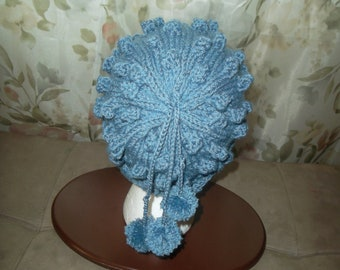 Handknit blue  hat with 3  pig tails and pom poms-Christmas gift