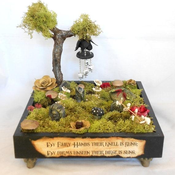 Dark Fairy Cemetery - Gothic Fantasy Decor - Miniature Cemetery