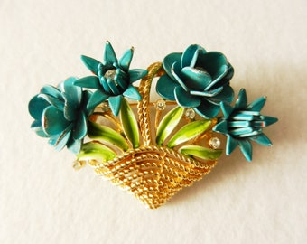 Crown Trifari, 1940 - basket of flowers brooch - fabulous jewelry with enamel and crystals--Art.71/2 -