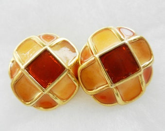Spectacular earrings 1960-original made in Italy-Marvelous color-Rust and Orange-Art.94/2-