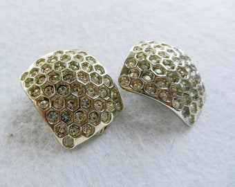 Fantastic vintage Earrings 1970 - large,with pave crystals in honeycomb pattern - classy beauty clips earrings -- Art.134/2 -