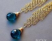 """Teal Blue Quartz Tassel Earrings - 14K Goldfilled - """"Uma""""........."""
