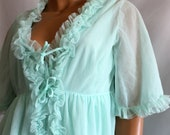 Pale Green Ruffle Peignoir Set