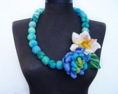 statement necklace felt water flowers and balls turquoise eco friendly necklace, strand necklace
