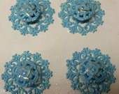 Drawer Pulls4 Aqua Ocean Blue TurquoiseUpcycled Filigree Distressed Knobs and Backplates Trimplates More Quantity or Colors Available