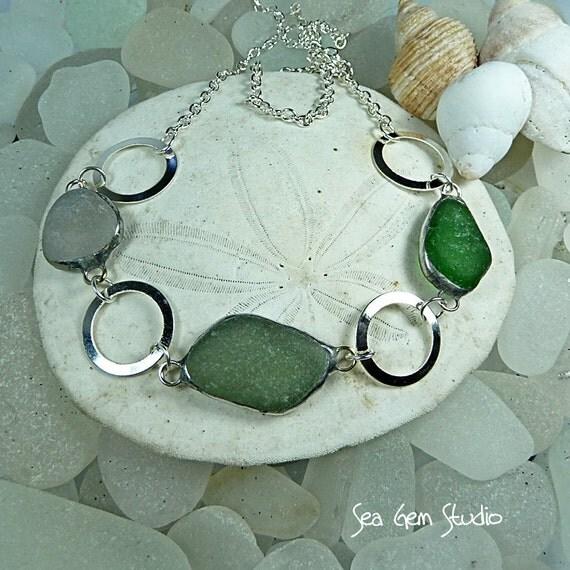 Circles, Sea Glass necklace, sea glass jewelry, seaglass, beach wedding, eco friendly
