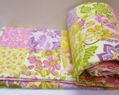 Patchwork Quilt Baby Quilt Girl Eden Moda Fabric Baby Quilt Modern Quilt Pink Purple Lavender Yellow Green Lila Tueller