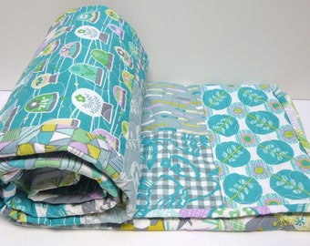 Baby Girl Quilt Crib Bedding-Turquoise-Gray-Grey-Modern Baby Bedding-La Dee Da-Erin McMorris-Whimsical-Toddler Quilt-Baby Quilts Handmade
