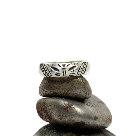 Men's Silver Tiki Carving Wedding Ring - Tiki Man