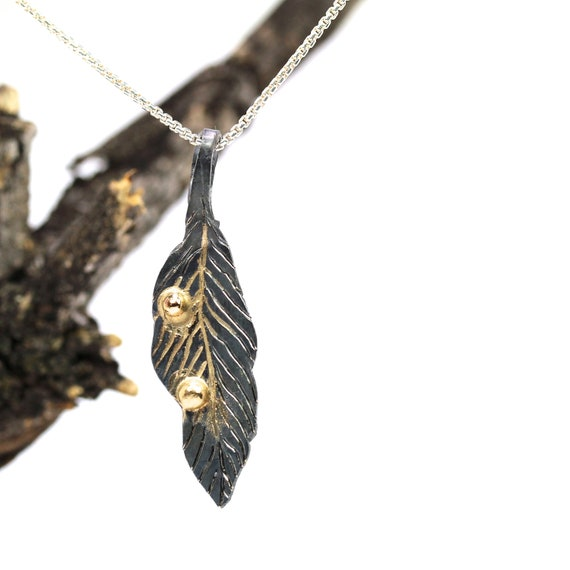 Dark Silver Yellow Gold Feather Necklace Tribal Woodland - Gold Drop Feather