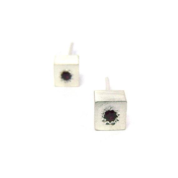 Silver Cube Shaped Ruby Stud Earrings - Ruby Cubes