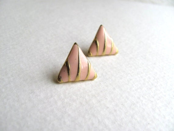 Pink and gold striped geometric triangle post earrings, 1980s, enamel