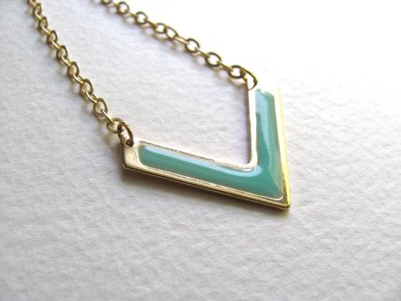 Aqua and gold enamel chevron pendant necklace, vintage inspired, geometric, 14k gold plate chain