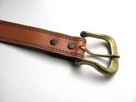 Butterscotch vintage leather western belt, brass buckle