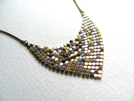 ON SALE: Gold and silver grey sequin bib necklace, vintage, triangle pendant