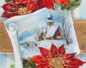Antique Christmas Postcards, Mantel Decor, Poinsettias, Circa 1911, Edwardian, Red and Gold, Vintage Christmas Decor