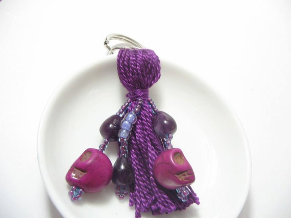 Purple Sugar Skull Beaded Tassel Keyring