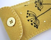 Felt phone case, i pod, gadget cover. Seedheads, yellow.