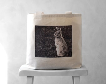 Canvas Bag - Woodland Bunny - Mademoiselle Lapina - Tote Bag - Easter Basket - Carryall Tote - Natural or Black